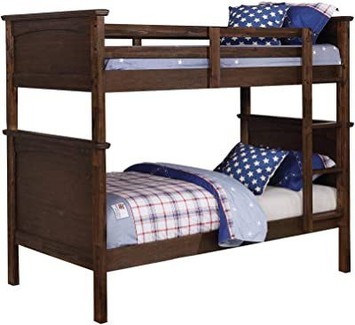 Benjara Panel Design Transitional Twin Bunk Bed with Ladder, Brown