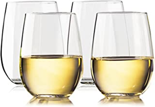 TaZa Unbreakable Stemless Wine Glasses: Elegant Shatterproof Tritan Plastic Outdoor Cups with Weighted Base   Dishwasher-Safe   Smooth Rims   16 Ounce   Set of 4