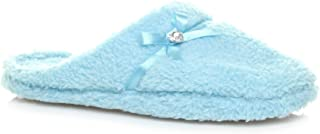 Ajvani Women's Gem Fleece Fur Slippers Mules Size