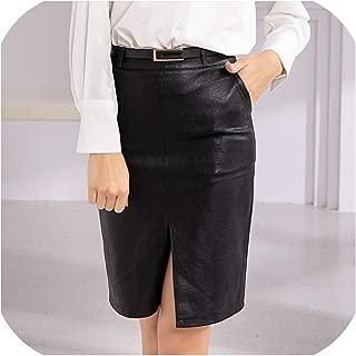 Women Pu Leather Skirt Empire Straight Mini Skater Skirt Female Black with Belt