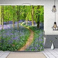 シャワーカーテン春のアッシュリッジの森で育つブルーベル 防水 目隠し 速乾 高級 ポリエステル生地 遮像 浴室 バスカーテン お風呂カーテン 間仕切りリング付のシャワーカーテン 180 x 180cm