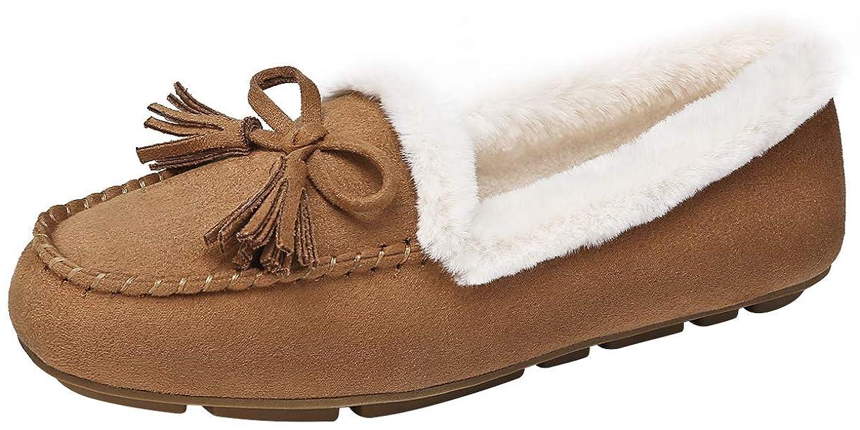 ダイエット条約関税[CAMEL CROWN] モカシンレディース スリッポン ローファーシューズ パンプス靴フラット ボア 歩きやすい防寒 軽量かわいい スウェード ぺたんこもこもこ裏起毛 おしゃれ 秋冬 スノーシューズ 暖かい 通学 通勤 滑り止め 22.5-24.5cm