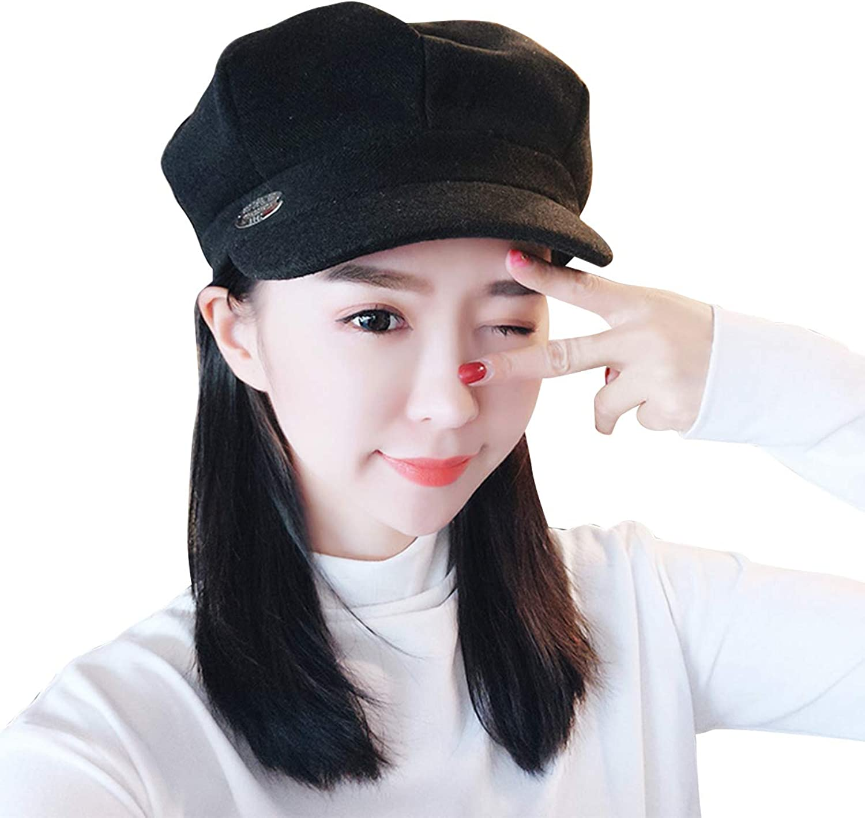 Deacroy Women's Newsboy Cap Soft Wool Lined Visor Cabbie Painter Beret Hats