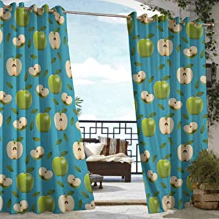 S Brave Sky Apple Outdoor Curtain Ties Fresh Granny Smith Apples Raw Fruit Ornamental Harvest Winter Season Produces Outdoor Curtain for Privacy Apple Green Teal