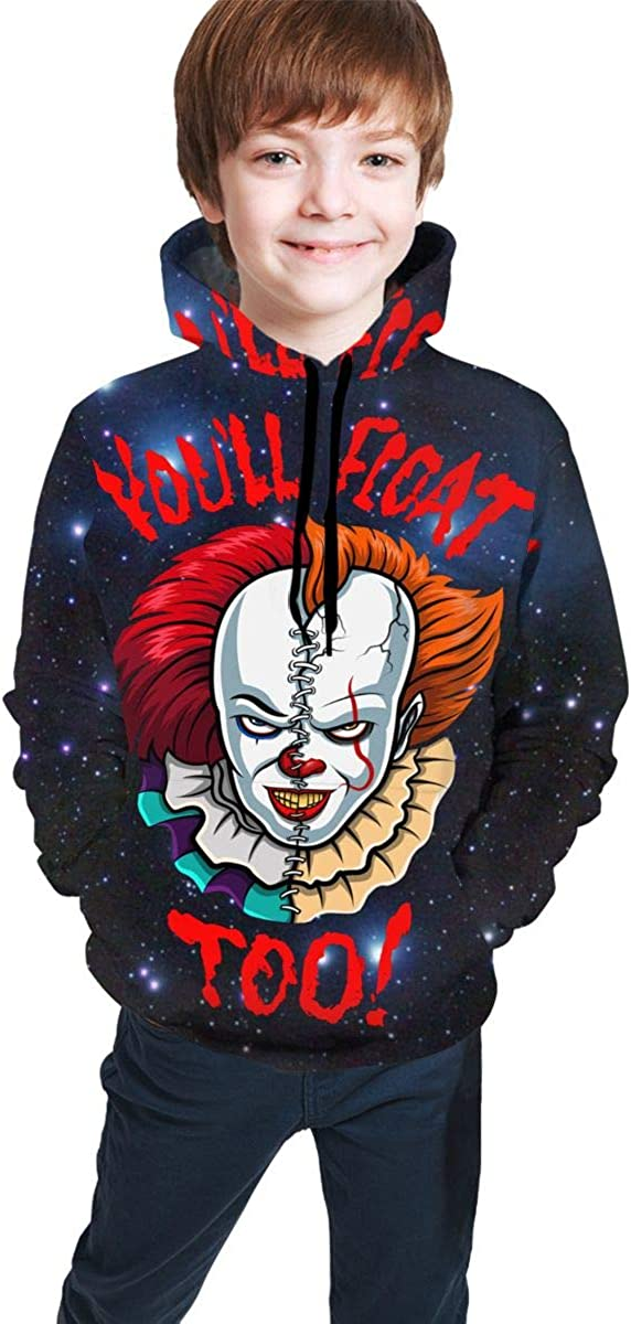 You Will Float Too Youth Child Hooded Printed Hoodie Sweatshirt Pocket Pullover Sweaters Boys Girls