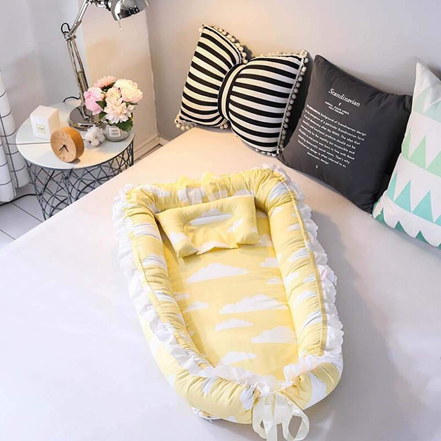 Baby Cot Removable and Washable Baby Isolation Bed Cotton Newborn Bionic Bed Removable and Washable Suitable for Baby from 0 to 24 Months,F