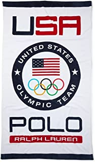 RALPH LAUREN One Polo Team USA Cotton Beach Towel -red White and Blue Authentic Team USA