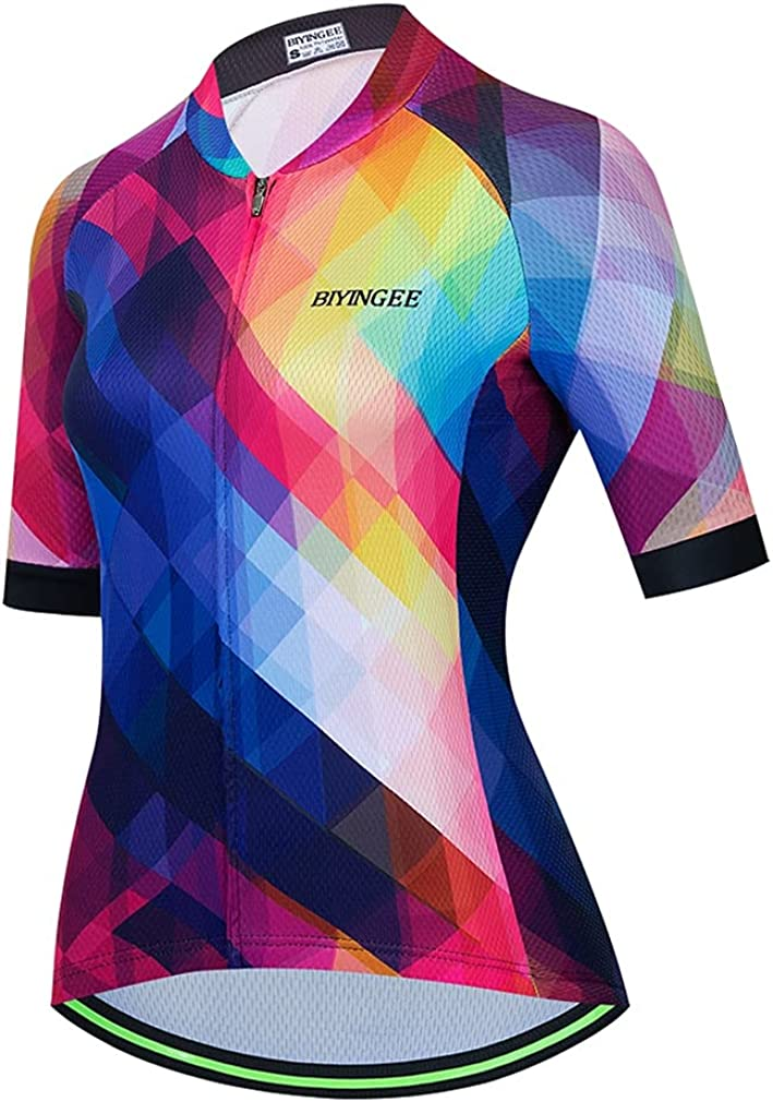 BIYINGEE Women's Courier shipping free Cycling Jersey Short Str with Reflective Sleeve Dealing full price reduction