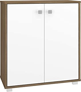BRV Móveis Cabinet With Two Doors, Oak and White, 74 cm x 67.5 cm x 29.5 cm, BAM 05-47