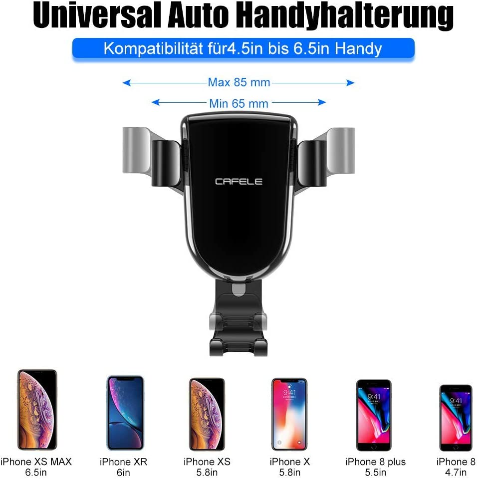 Samsung 4,5-6,5 Zoll Universal Autohalterung L/üftung L/üftungsschlitz Bel/üftung KFZ Phone Halterung Handy Halter f/ür Phone Handyhalter f/ürs Auto L/üftung Handyhalterung Auto Schwerkraft Smartphones