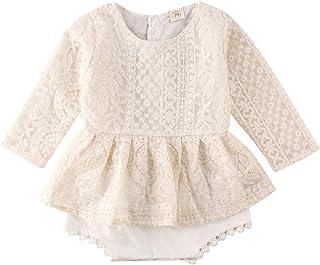 Newborn Baby Girl Long Sleeve Ruffle Flower Lace Romper Bodysuit Tutu Dress