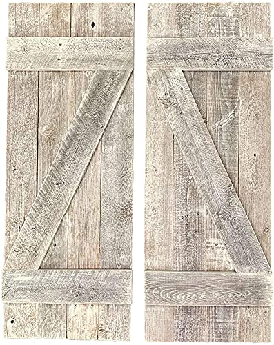 BarnwoodUSA | Rustic Farmhouse Window Shutters (Set of 2) | Made of 100% Reclaimed and Recycled Wood | Rustic Interior Window Shutters | Traditional Country Style Home Decor | White Wash