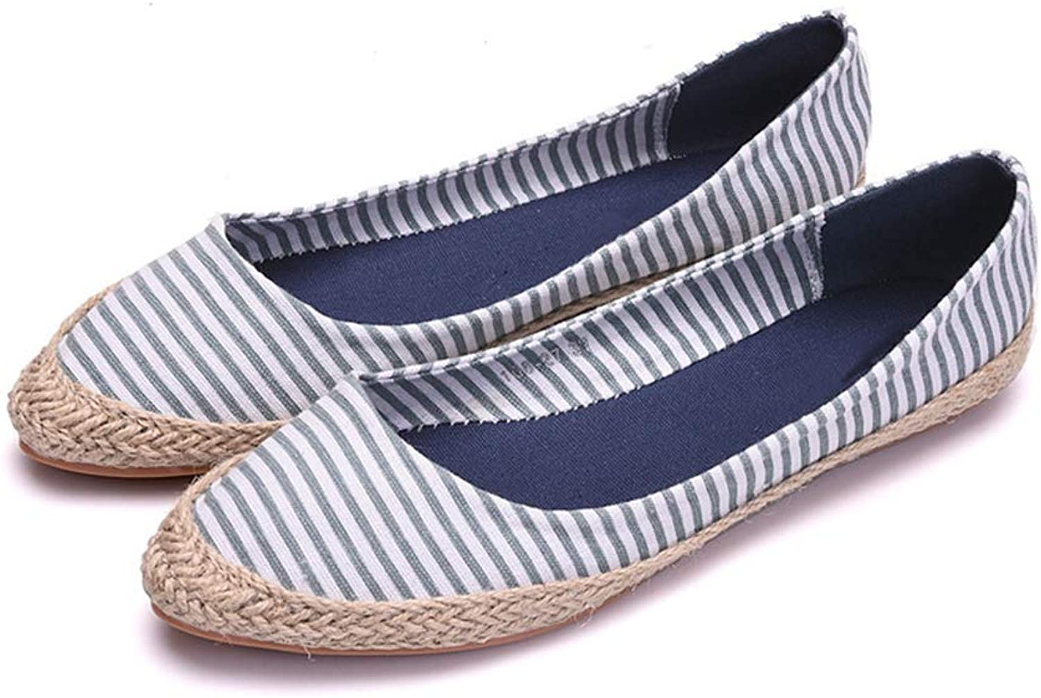 Women Flats shoes Cloth Stripe Pointed Toe Slip-On Casual Flats shoes