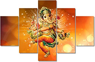 TUMOVO Indian Ganesha Wall Decor 5 Panel Wall Art for Living Room Hindu God HD Poster Prints on Canvas Artwork Home Decor ...