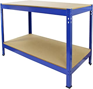 Nishore Etabli datelier Table de Travail avec Panneau /à Outil 2 Etag/ères Cadre en Acier 115 x 55 x 140 cm(150 kg Max)