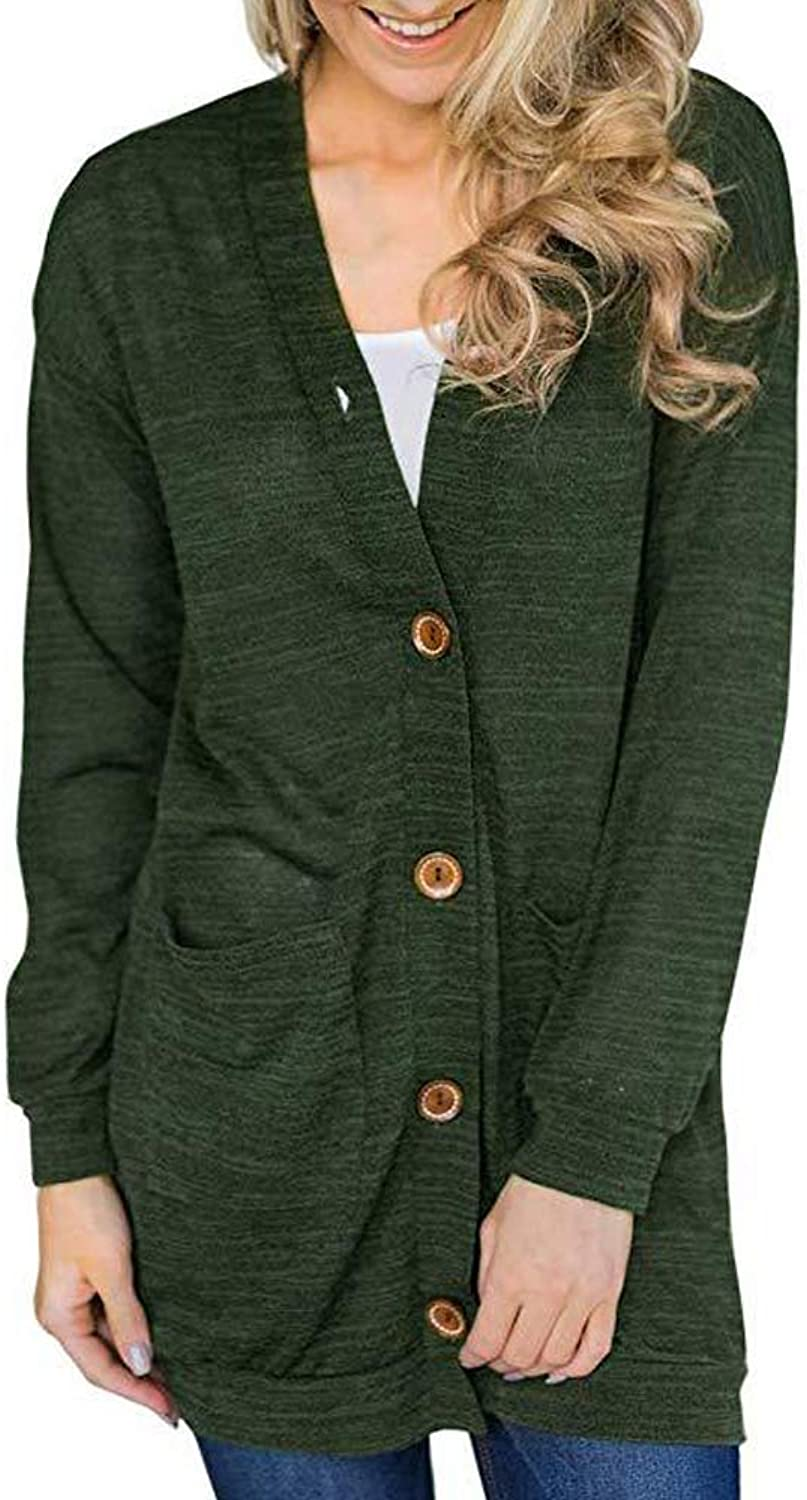 EVA TRENDS Women Long Sleeve Snap Button Cardigan   Solid color Vneck Knitted Sweater