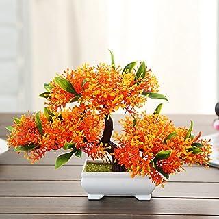 Roovtap Simulación Planta pequeño árbol Maceta plástico Falso Flor Verde Planta Vino gabinete estantería decoración de la ...