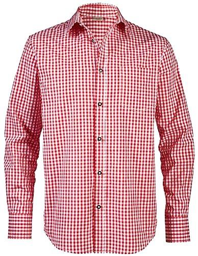 LIVERGY® Herren Trachtenhemd (rot/weiß - kariert, Gr. M - 39/40)