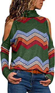 aihihe Women Off The Shoulder Tops Long Sleeve Turtleneck Striped Printed Shirts Casual Loose Sexy Tops Tunic Blouses