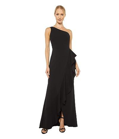 Adrianna Papell One Shoulder Cascade Gown (Black) Women