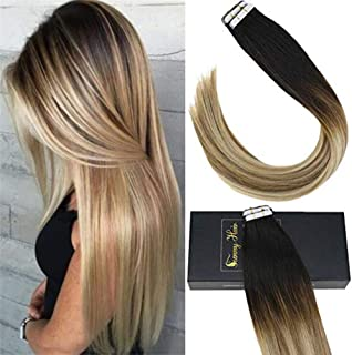 Sunny Human Hair Extensions Balayage Tape in Highlighted Natural Black to Light Brown Mixed Medium Blonde 16Inch Tape in Real Hair Extensions Straight Ombre 20pcs 50g