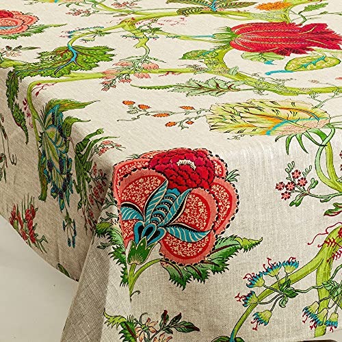 """Amelie Michel French Linen Tablecloth in Darjeeling   Authentic 100% Linen Fabric, Made in France [60"""" x 96"""" Rectangle]"""