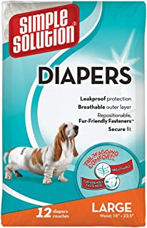 Simple Solution Disposable Female Dog Diapers, White, L/XL, Pack of 12