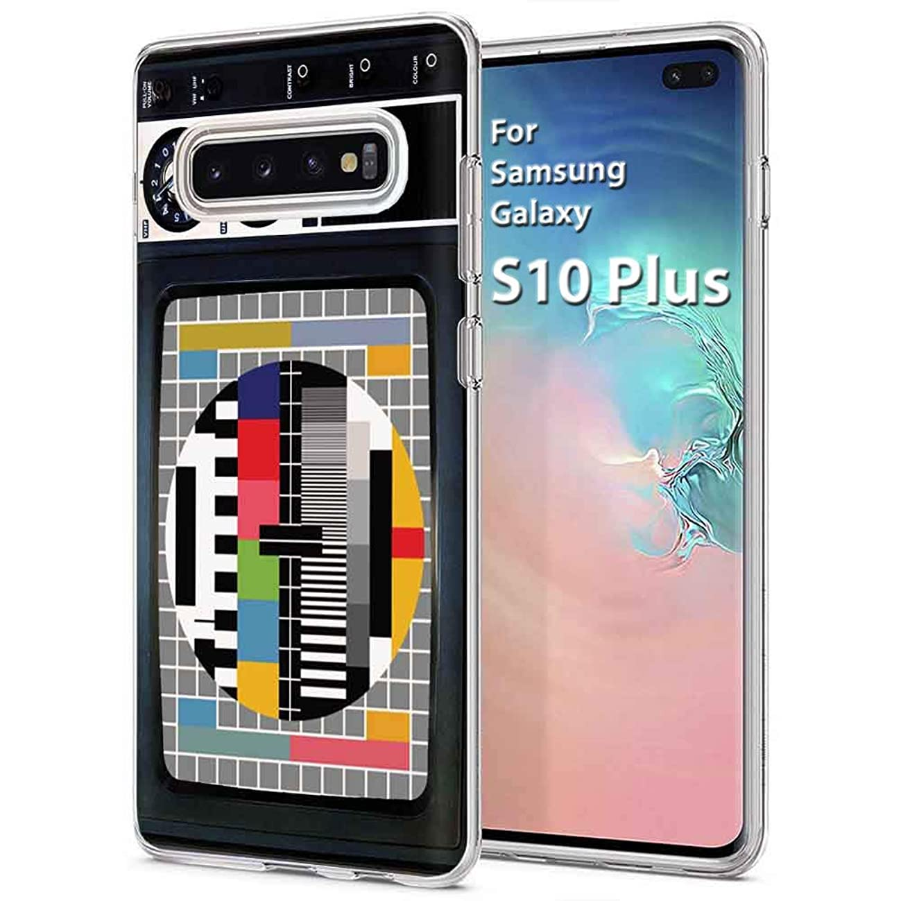 [Naked Shield] Samsung Galaxy S10 Plus [Clear] Slim Flex Gel Skin Case Feature Light Weight, Enhanced Grip Design TPU Case for Samsung SM-G975 [Retro TV Print], Designed in USA