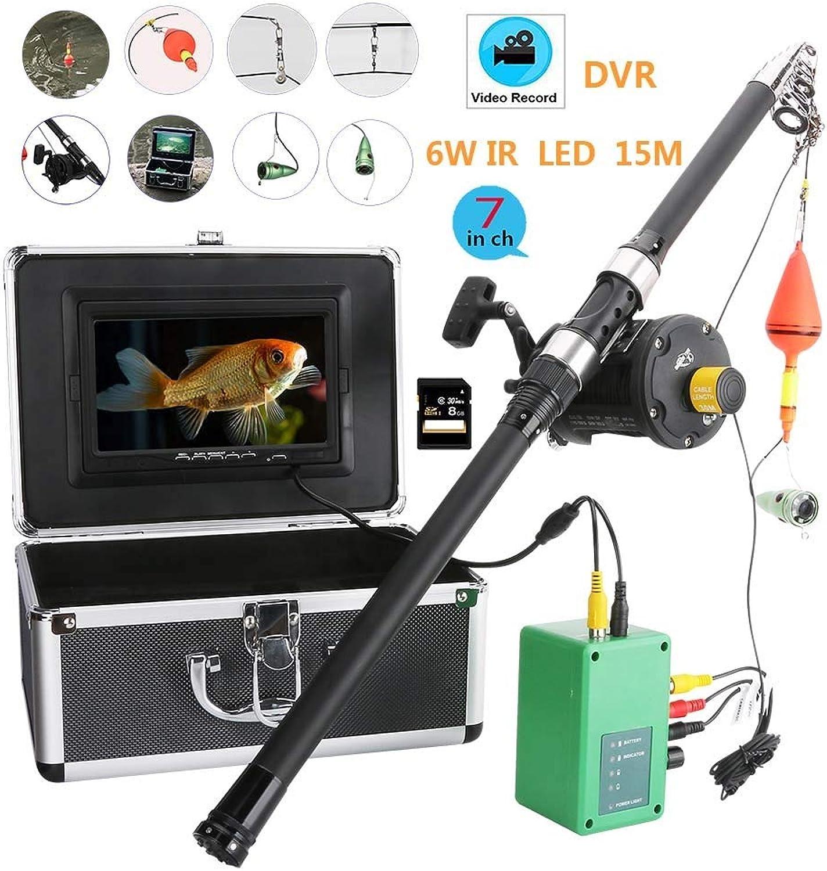 DYWLQ Fishing Kit-Unterwasserfischen-Videokamera, 7-Zoll-Unterwasserfischfinder HD 1000tvl, wasserdichte Unterwasserkamera mit DVR-Aufzeichnung und Angelrute, 6W LED-Infrarotlampe, 15M