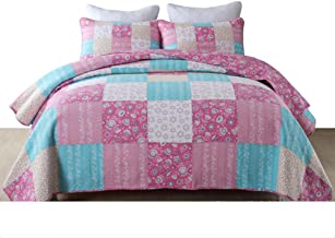 230×250 cm Handmade Cotton Patchwork Quilted Bedspread with Shams Easy Care Quilt for Summer Vintage Throw