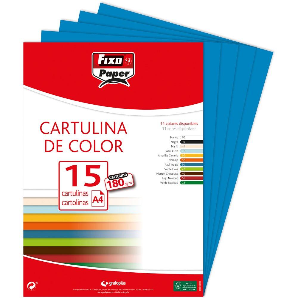 Fixo Paper 11110630 - Pack de 15 cartulinas color azul, A4, 180g/m²: Amazon.es: Oficina y papelería