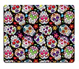 Pingpi Mouse Pad Customized Design, Day of The Dead Colorful Vintage Sugar Skull Abstract Seamless Floral Vector Background