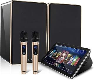 KKH Karaoke Machine Microphone Kids Adults cds System Songs HDD HiFi … (3TB Hard Disk Built-in 60,000 Songs, 8-inch Black Gold Baking Varnish Sound Set)