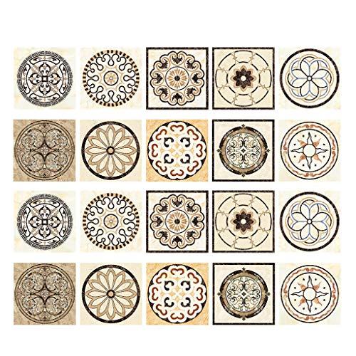 Fenteer 20 Unids Mosaico Impermeable Autoadhesivo Azulejos De Cocina Pegatinas Hogar Decoración De Pared - Dakota del Sur
