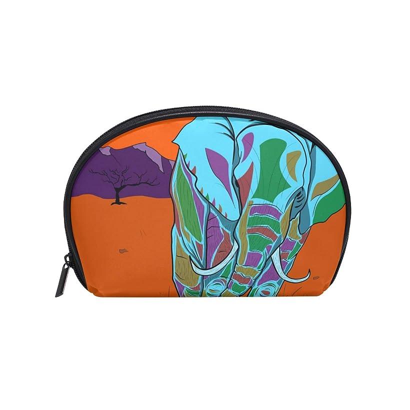 ハーブも登場半月型 ゾウ動物サバンナ 化粧ポーチ コスメポーチ コスメバッグ メイクポーチ 大容量 旅行 小物入れ