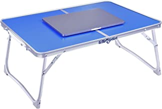 Foldable Laptop Table Lapdesk, RAINBEAN Breakfast Bed Tray, Portable Mini Picnic Desk, Notebook Stand Read Book Holder for Couch Floor, Folding in Half w' Inner Storage Space, Aluminum Alloy Leg-Blue