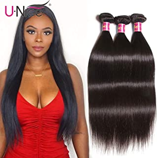 UNice Hair Brazilian Straight Hair 3 Bundles Hair Weft 100% Unprocessed Virgin Human Hair Extensions Weave Natural Color (20 22 24inch)