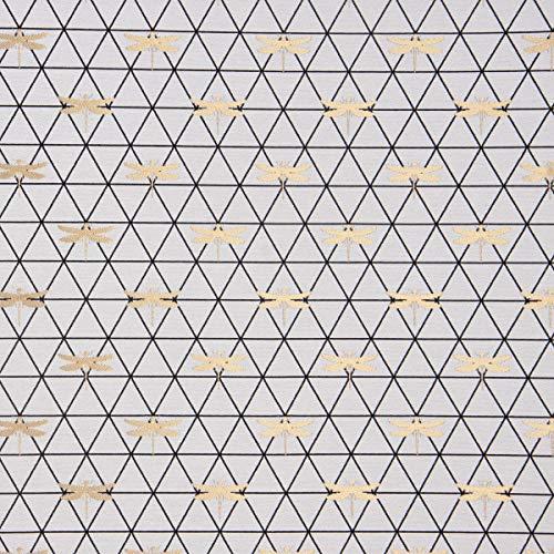 SCHÖNER LEBEN. Dekostoff Jacquard-Stoff Dreiecke weiß schwarz Libelle Gold 1,40m Breite