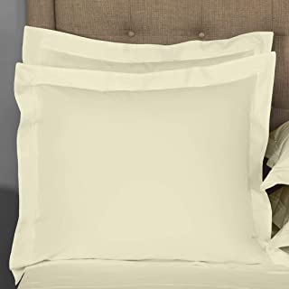 Pillow sham Set of 2 Ivory Solid 800 Thread Count Euro/Square (28x28) Size Envelope Closure Pillow Cover | Long Staple - S...