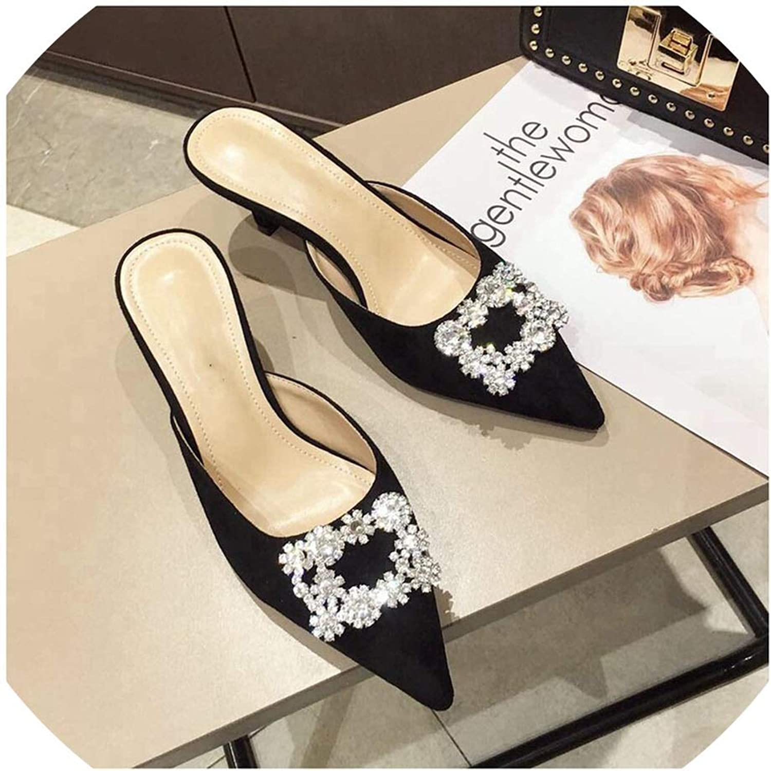 Spring Mid Heel Mules Slippers Ladies Pointed Toe Strange Style Crystal Outside Sandals