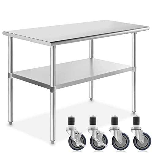 Stainless Steel Top Kitchen Cart Cutting Table Locking Wheels NSF certified