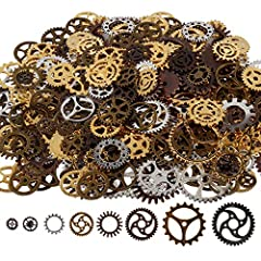 Antique steampunk gear charms Diameter: 10mm-26mm,mixed color alloy metal, bronze, copper, gold and silver Perfect for scrapbooking project, necklace pendant drop, jewelry making accessories Great DIY gift for your friends,lovers or yourself to creat...