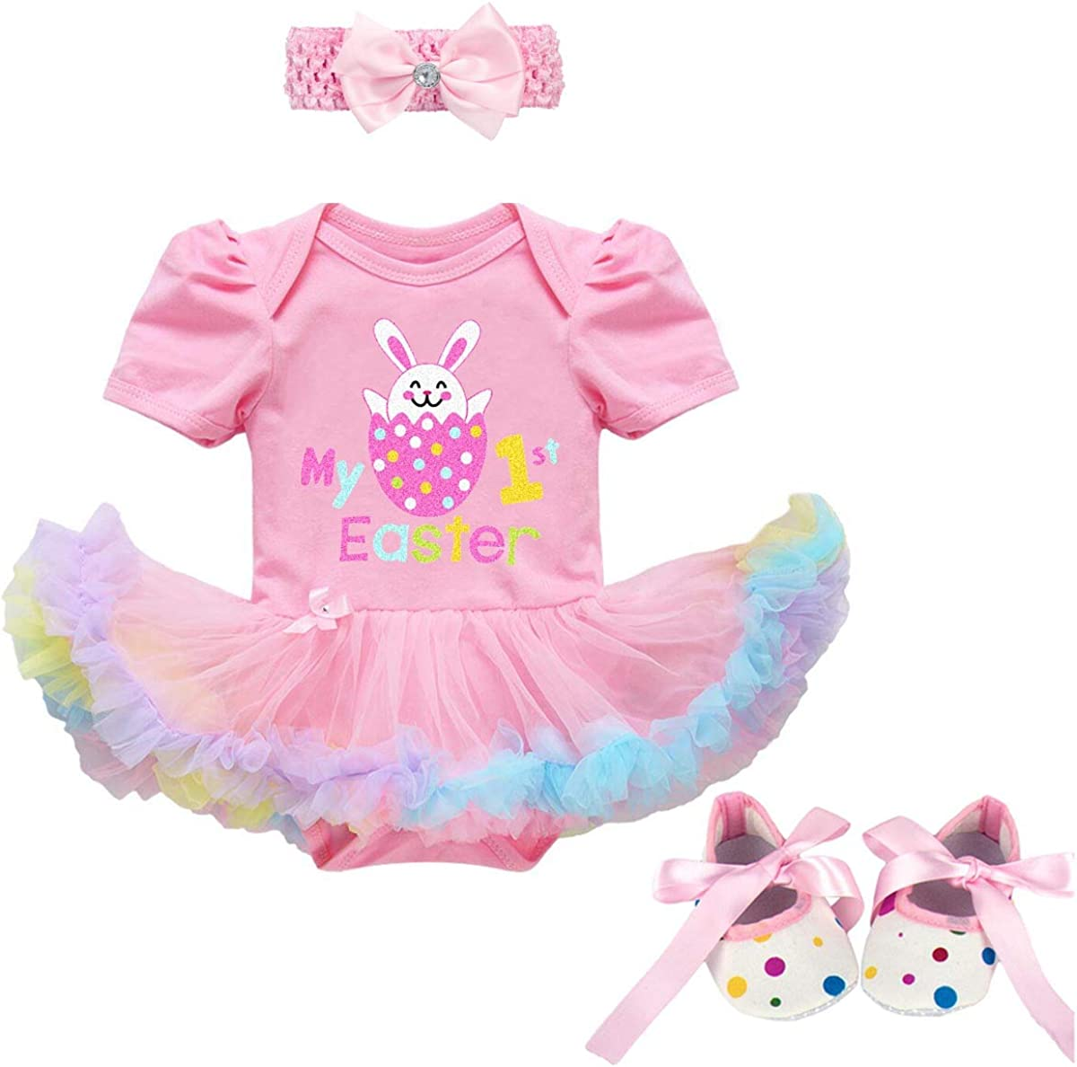 FYMNSI Newborn Baby Girl 1st Easter Outfit Infant Toddler Kids My First Easter Party Costume Princess Tutu Romper Dress Bunny Egg Print Short Sleeve Bodysuit Headband Shoes 3pcs Clothes Set Photo Prop