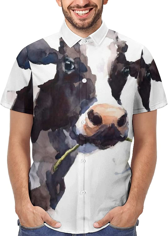 Hawaiian Shirts for Men Milk Cow Mouth with Flower Printed Beach Shirt Hawaiian Shirts