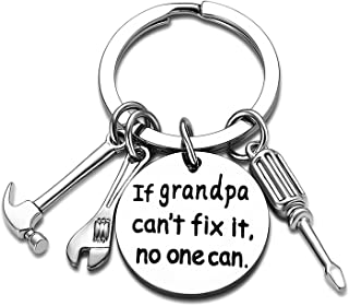Grandpa Keychain Granddad Gifts from Grandson Granddaughter Keyring Grandpa (If Grandpa Can't fix it, no one can)