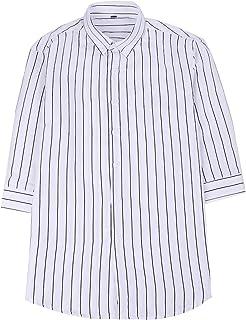 [ディフディフ] ストライプ ボタンダウン カッター シャツ 七分 袖 カジュアル アクティブ メンズ トップス おしゃれ