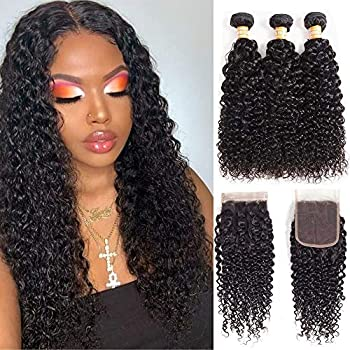 Malaysian Water Wave Curly Hair Bundles with Closure Wet and Wavy Bundles with Closure for Women Water Curls Remy Weave Human Hair with Closure Kinky Curly Bundles with Frontal Lace Closure