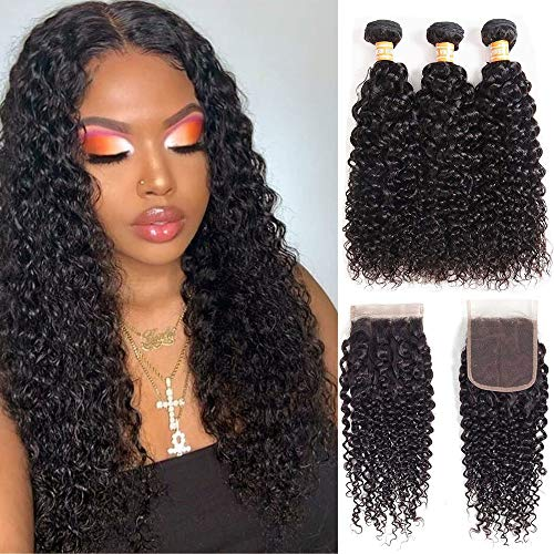 Wet and Wavy Human Hair Weave Bundles with Lace Closure Brazilian Hair Water Wave 3 Bundles with Front Lace Closure Remy Weaves Hair Bundles with Closure Afro Kinky Curly Hair Bundles with Closure