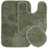 Garland Rug 3-Piece Finest Luxury Ultra Plush Washable Nylon Bathroom Rug Set, Deep Fern