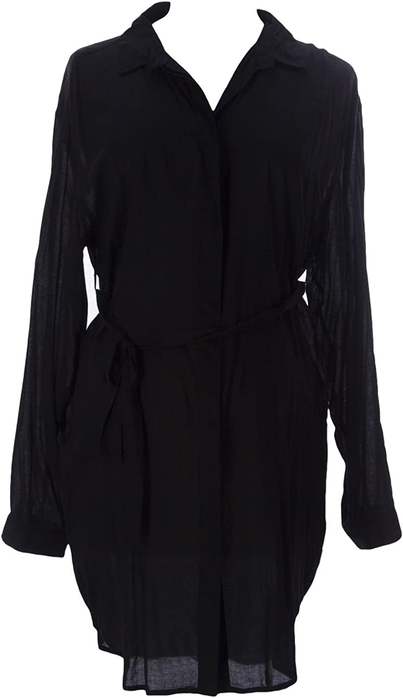 MOM2MOM Maternity Women's Belted Blouse, Black